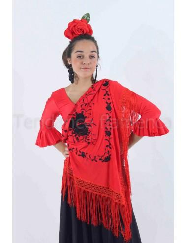 """Châle """"espagnol"""" rouge brodé noir"""