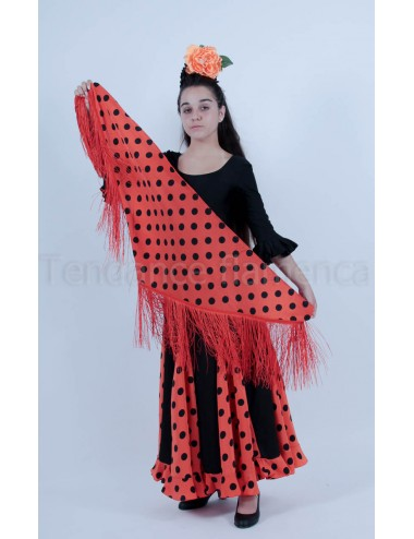 Panuelos flamenco  orange pois noir