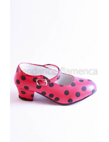Chaussure yoremy rouge pois noire -3