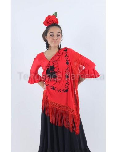 châle rouge brodé noir
