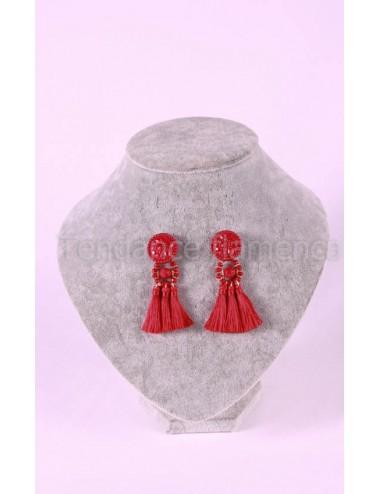 Boucles d'oreilles fils à fils N°2 Rouge