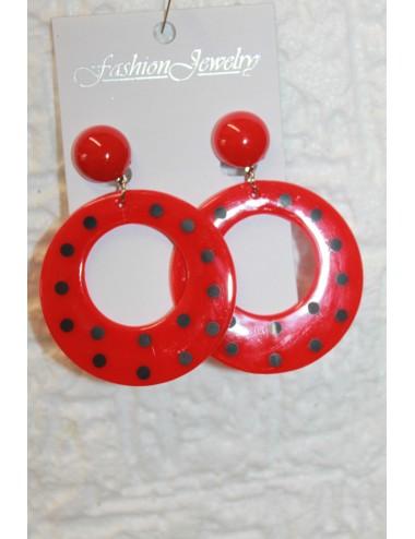 Boucles d'oreilles  Rouges Pois noir