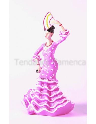 figurine danseuse rose pois blanc