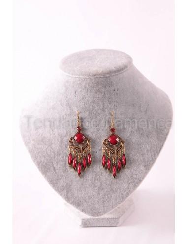 Boucles d'oreilles flamenca rouge