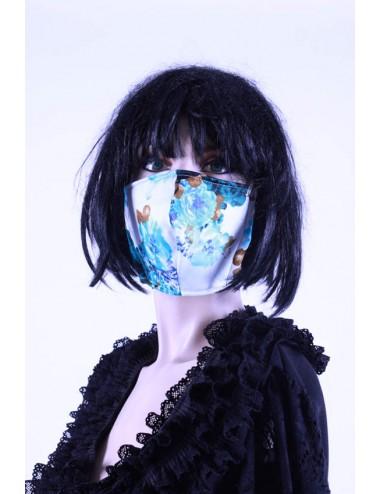 Masque covid 19 femme   fleuris turquoise