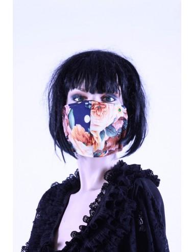 Masque covid 19 femme   fleuris bleu/  vert