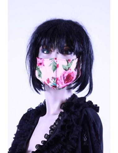 Masque covid 19 femme   fleuris rose