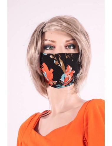 Masque covid 19 femme   fleuris noir /rouge
