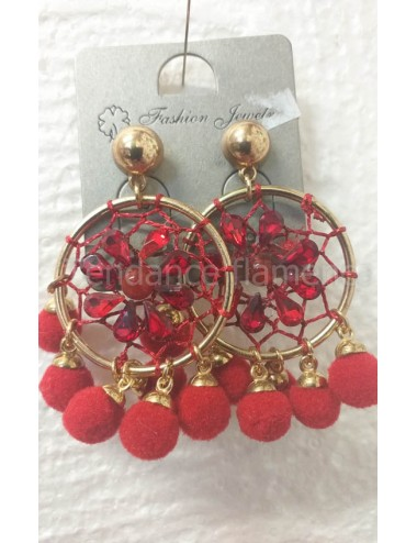 boucles pompoms rouge
