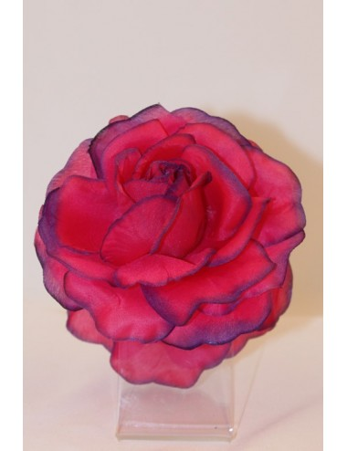Rose flamenco double pince à liseret 12 cm