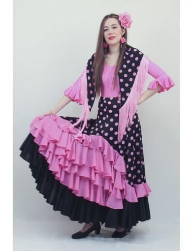 Jupe de Flamenco à pois rose et noire Madriléne 1