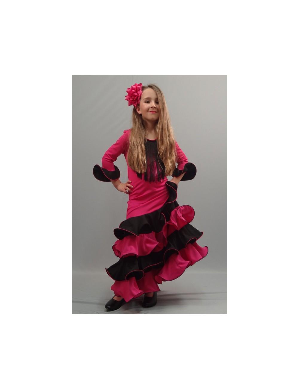 Robe flamenco fille fuschia noire Noella