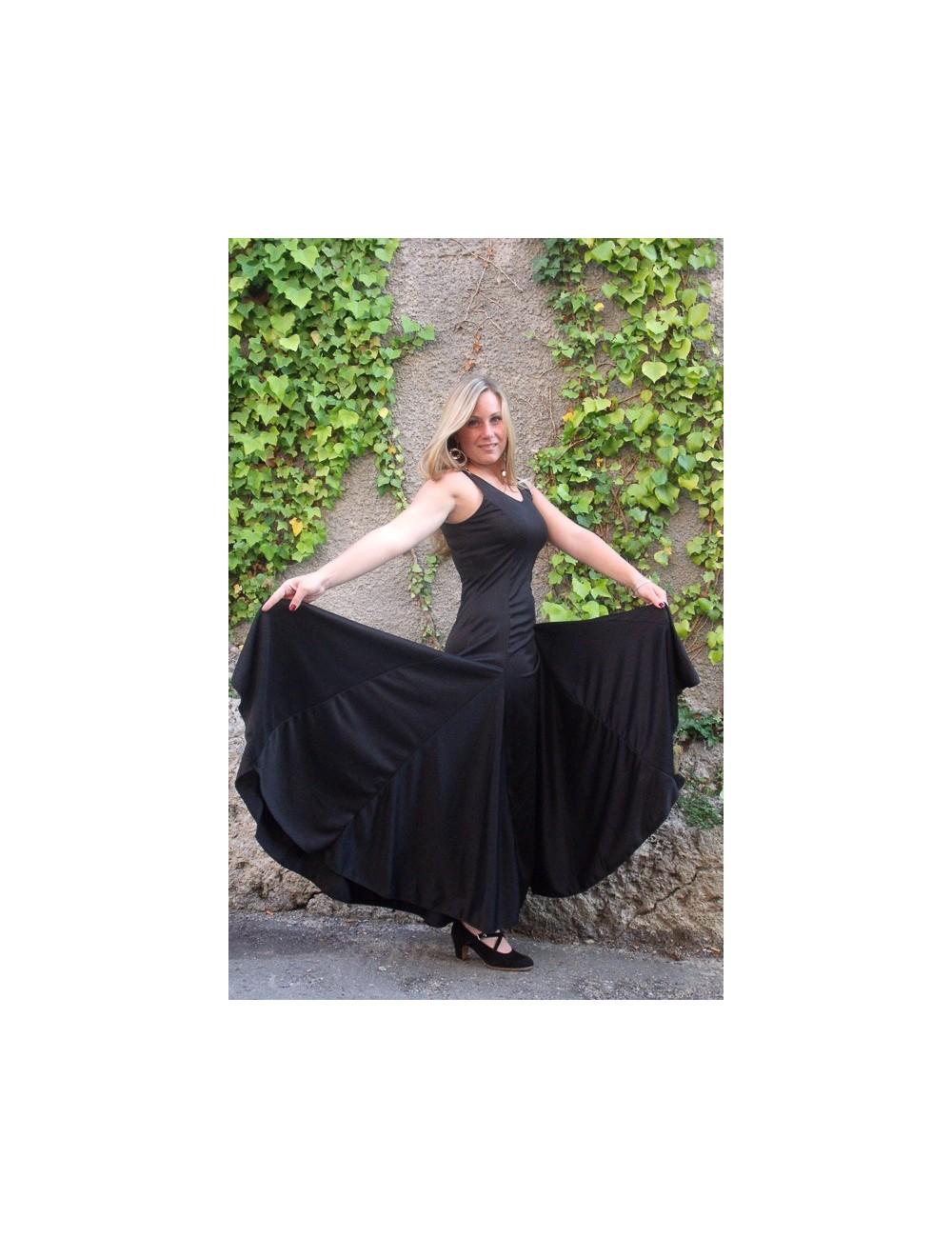 Vestido de entrenamiento de flamenco negro Anita