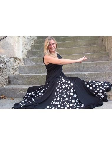 Vestido de entrenamiento de flamenco negro con puntos blancos Anita