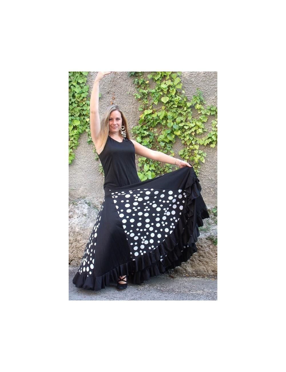 Robe Flamenco Anita noire Pois blancs