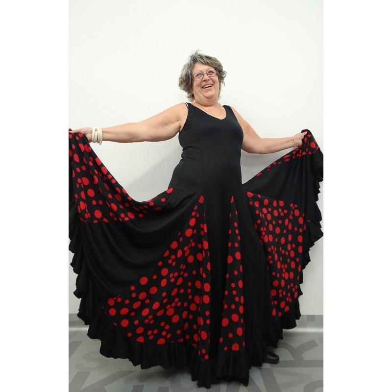 "Robe ""Espagnole"" noire pois rouges XXL Anita Yoremy"